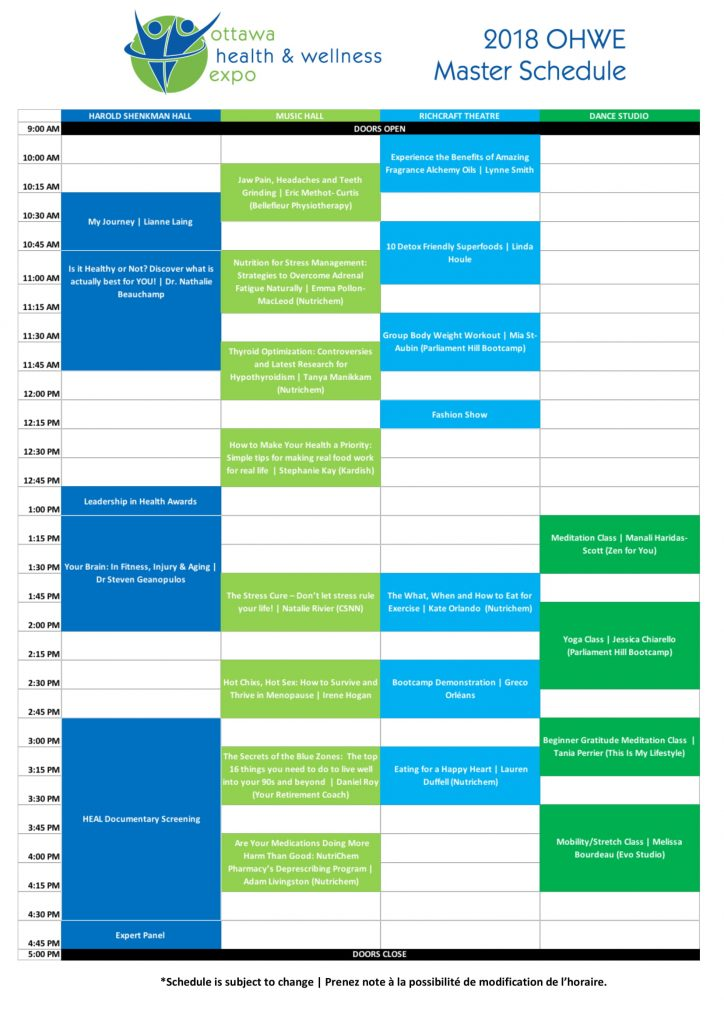 Master Schedule Of Events 2018 Ottawa Health And
